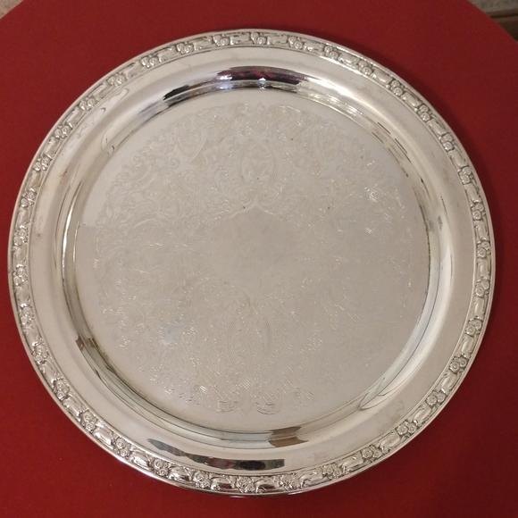 Vintage Oneida USA Round Silver Tray